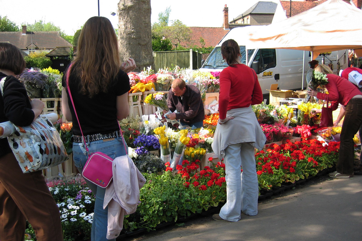 Visitors browsing the French Market in Marlow, Wycombe district.