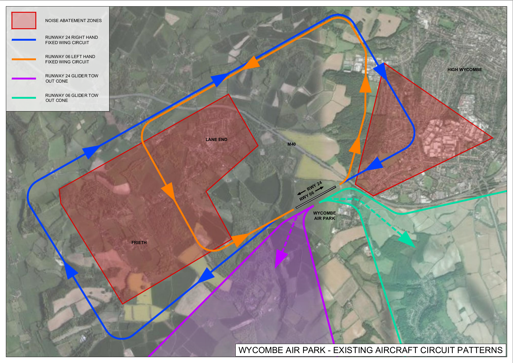 This map shows the existing aircraft circuit patterns, including the runway 24 right-hand fixed-wing circuit, runway 06 left-hand fixed-wing circuit, runway 24 glider tow-out cone, runway 06 glider tow-out cone, and the noise abatement zones.