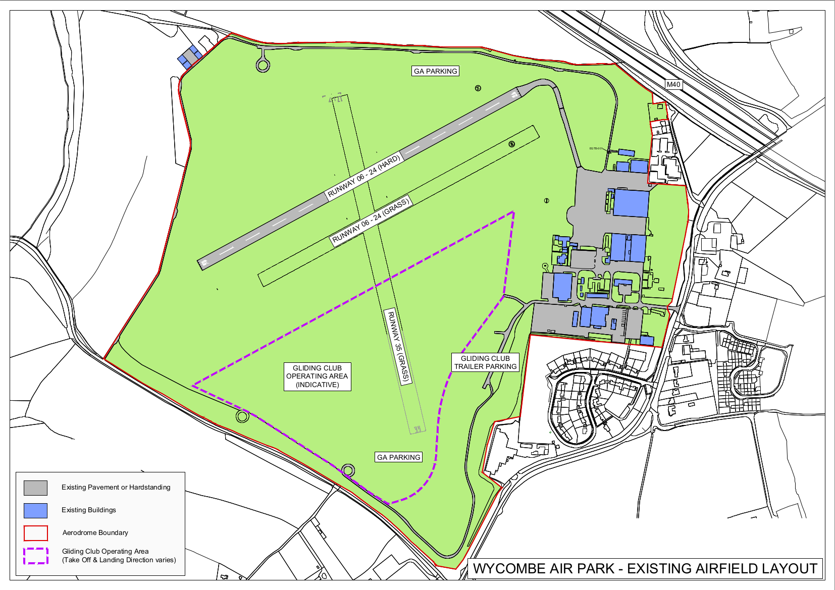 This map shows the existing airfield layout, including the air park boundaries, runway 35 (running north to south), grass runway 06-24 (running east to west), and hard runway 06-24 (running east to west and positioned north of grass runway 06-24).