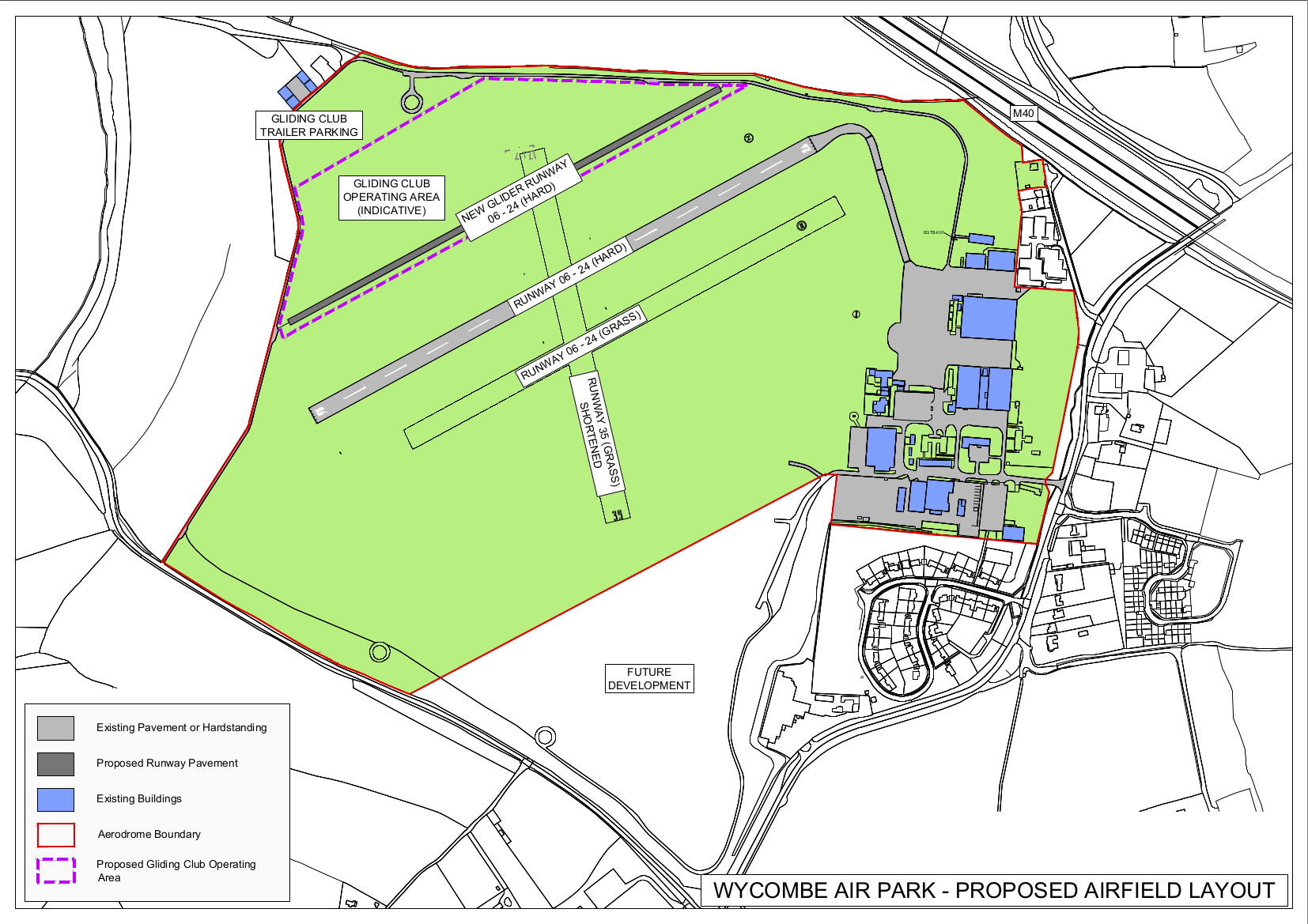 This map displays the proposed new airfield layout, including the new glider runway to the north-west of the existing runway and the gliding club operating area north-west of the new runway.