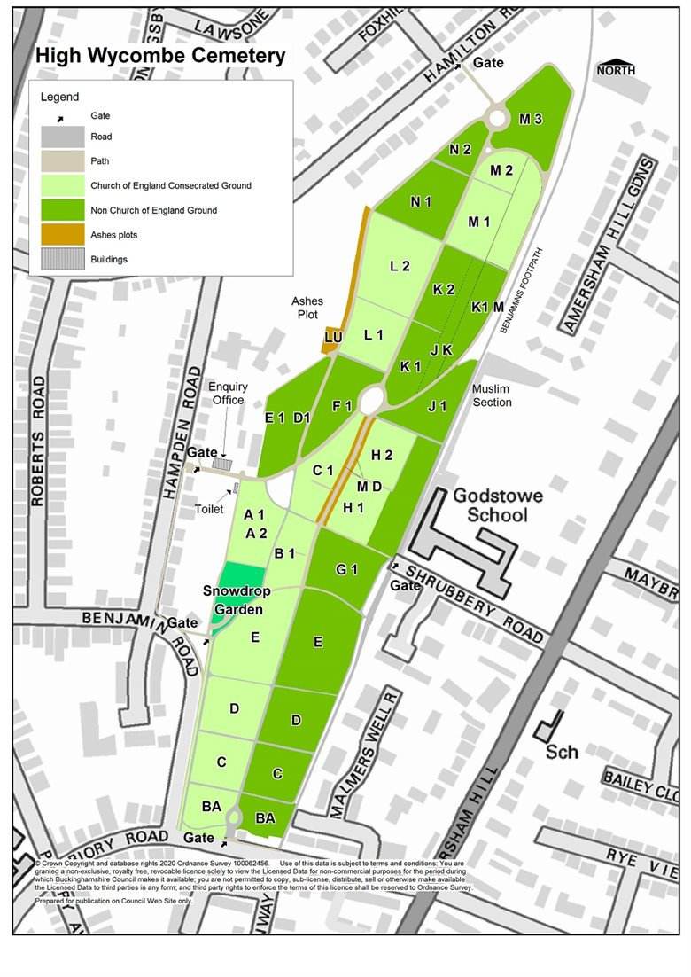 If you are unable to view this map, please email us on groundsmaintenance.wyc@buckinghamshire.gov.uk, call us on 01494 421 819 or visit the office located on the Western boundary of the cemetery.
