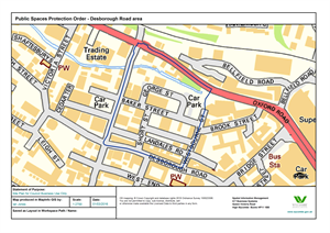 map showing proposed Public spaces protection order for Desborough Road