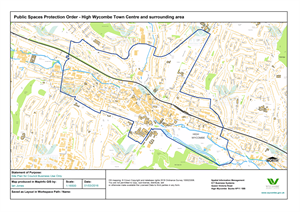 map showing proposed Public spaces protection order for High Wycombe town centre