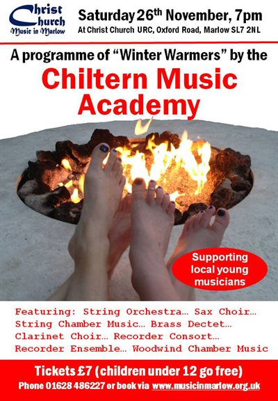 Warming feet next to firepit poster for Chiltern Music Academy Winter Warmers
