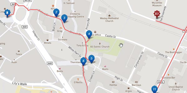 screenshot of the high wycombe heritage trail
