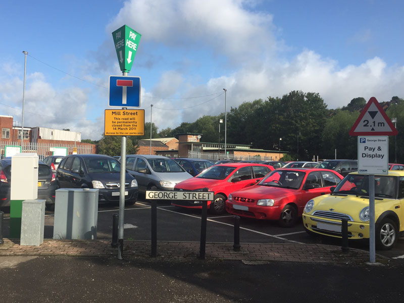 George-Street-car-park-road-sign-cars-and-payment-machines