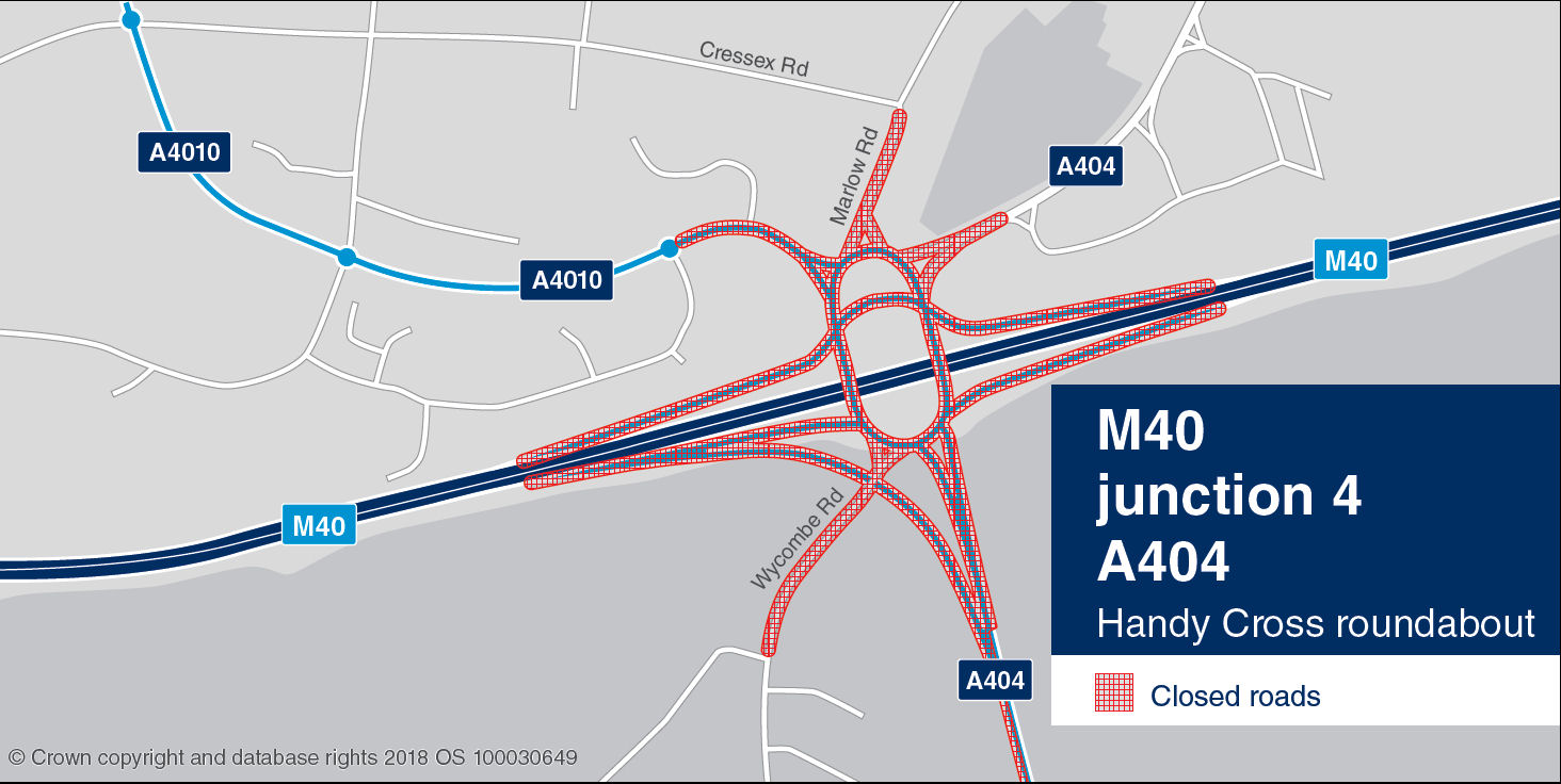 M40 junction 4 A404 Handy Cross roundabout weekend closures