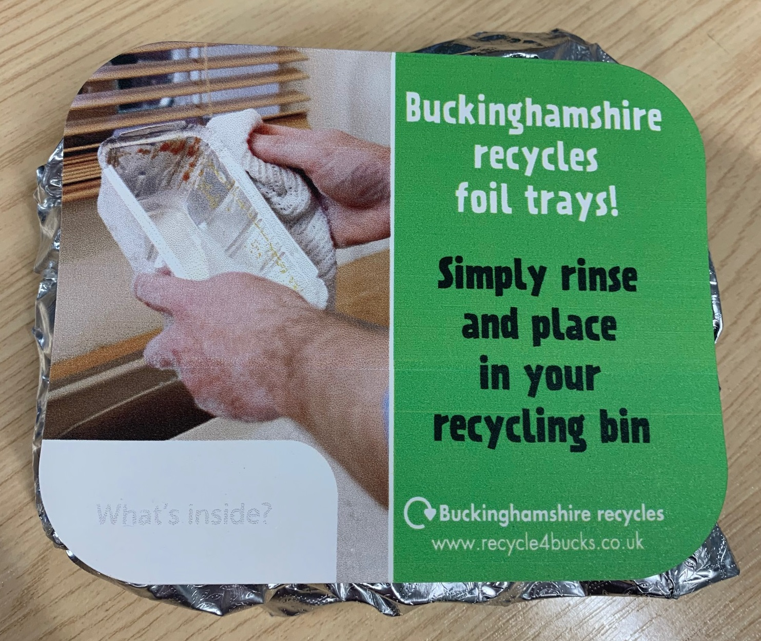 Take away lids foil recycling message