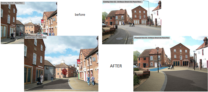 Montage showing Paul's Row before the works take place and what the proposed improvements will look like.