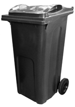 Black general rubbish wheelie bin