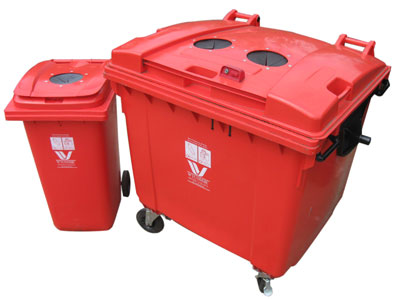 red bin and large red wheelie bin